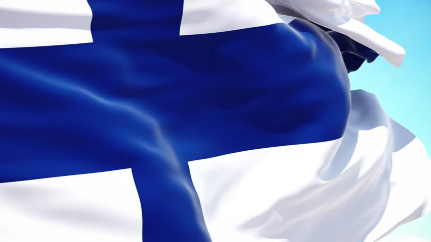 Finland flag waving on a high quality blue sky, 3d rendering