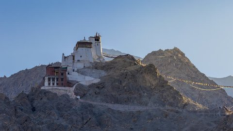 Timelapse 4k, View of Leh Mountain Range in the morning sunrise spot at Tsemo Maitreya Temple buddha, ancient manuscripts and frescoes in Leh, Ladakh, Jammu and Kashmir, India.