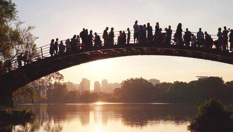 Sao Paulo, SP / Brazil - September 22, 2018: Sunset on bridge in Ibirapuera Park