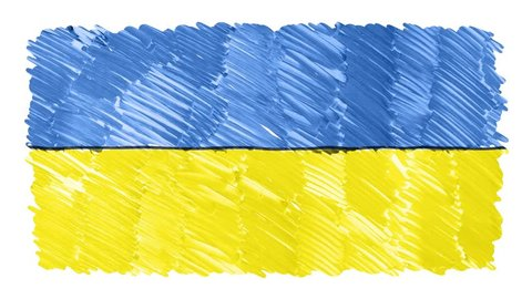 stop motion marker drawn Ukraine flag cartoon animation background new quality national patriotic colorful symbol video footage
