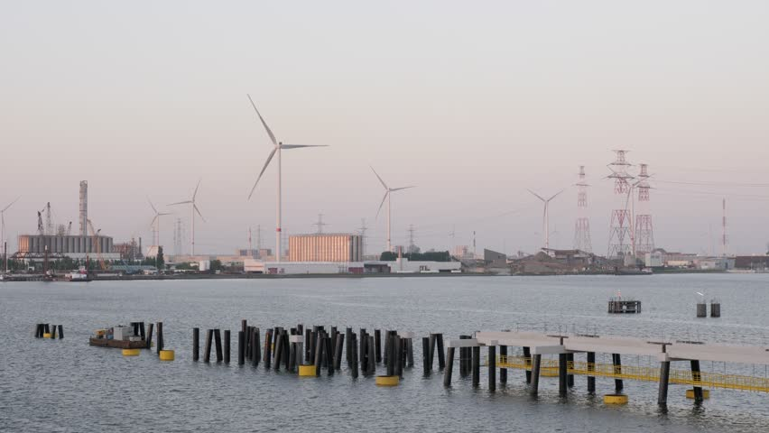 Partially built jetty in the port in the evening | Shutterstock HD Video #1016822380