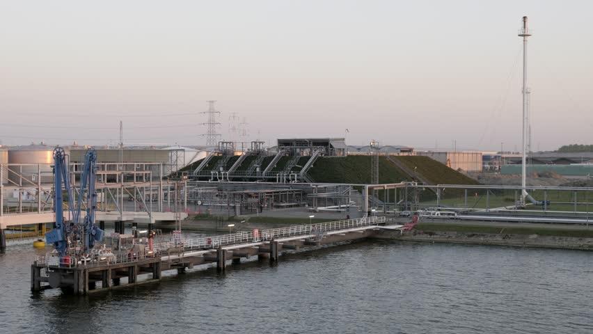 Underground gas holders in port Antwerp, Belgium 05.02.2018 | Shutterstock HD Video #1016822470