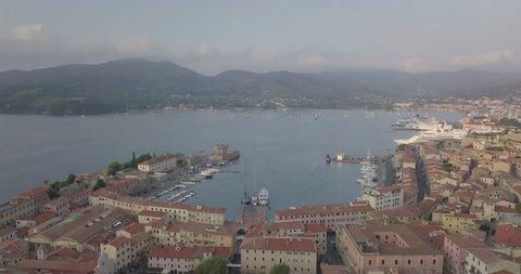 Aerial view of the port and the city of Portoferraio, Elba Island (Italy)