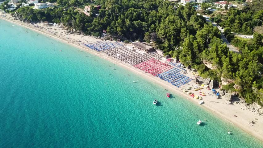 Aerial drone video of iconic beach of Makri Gialos in island of Cefalonia, Lassi, Ionian islands, Greece
