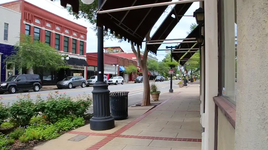 Downtown city sidewalk and street in North Little Rock, Arkansas
