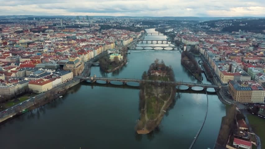 Drone Shot of Prague with Reflective River | Shutterstock HD Video #1016905600