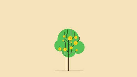 Gold dollar coins are growing on the beautiful cartoon green tree. 2D animation video.