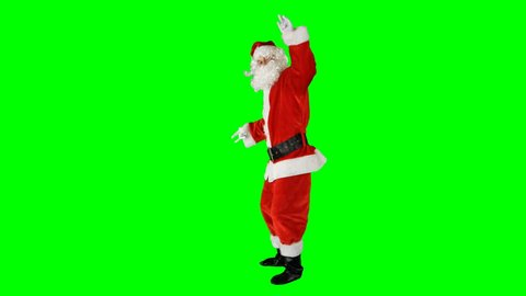 Santa Claus Dancing on Isolated Green Blue Screen Chroma Key Alpha Channel