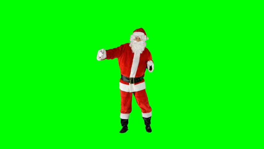Santa Claus Dancing on Isolated Green Blue Screen Chroma Key Alpha Channel #1016945950