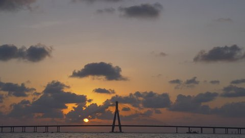 Time lapse footage of Sunset at Bandra Worli sea link also known as Rajiv Gandhi Sea link, Mumbai, India.