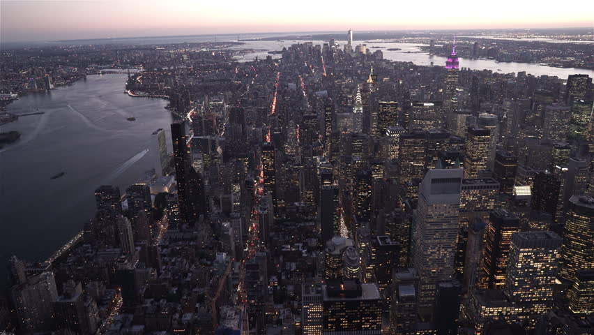New York City Circa-2015, Aerial view of New York's skyline at dusk from 59th Street and 1st Avenue