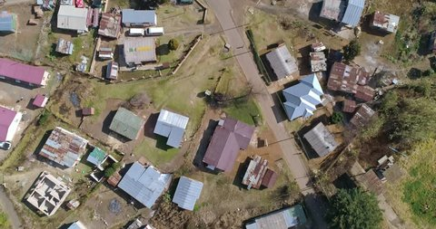 Low income housing with chaotic urban planning shot from the air in Southern African town