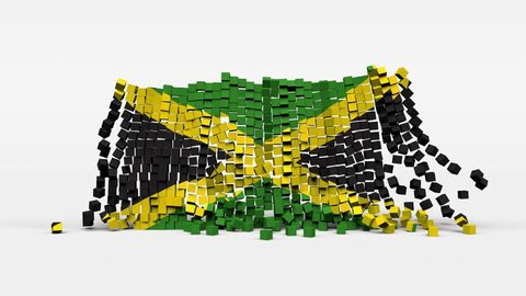 Flag of Jamaica created from 3d cubes in slow motion