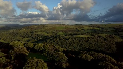 Aerial track over dense forest and farmland in Wales | 4K