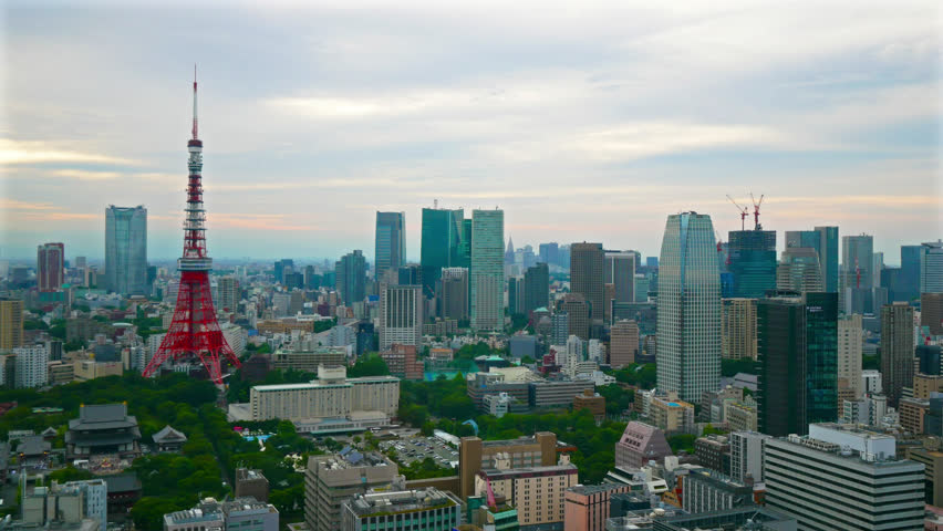 Time lapse view at Tokyo city with Tokyo Tower in japan | Shutterstock HD Video #1017109960