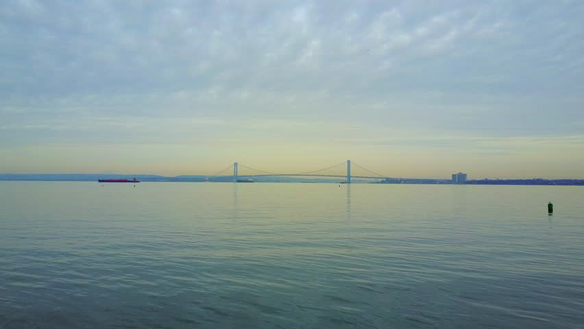 View of the Verrazano Bridge and the East River in New York City | Shutterstock HD Video #1017189970