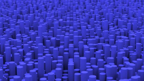 Surface with blue cylinders close up animation background