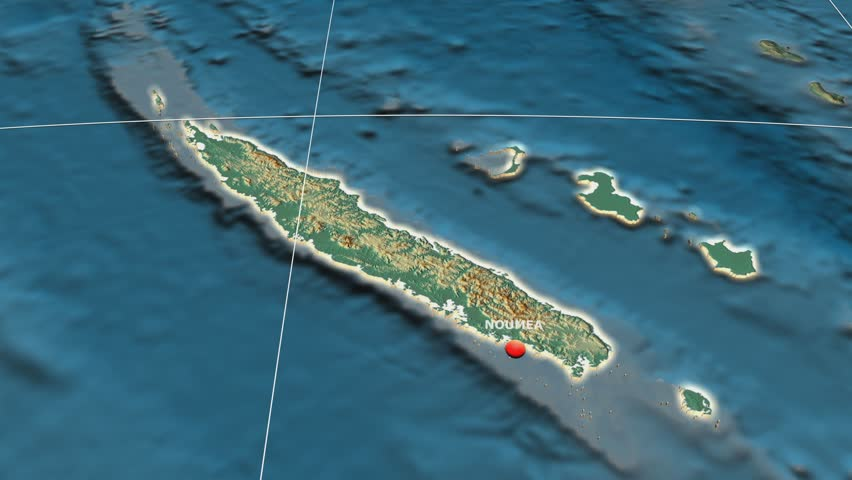 Zoom-in on New Caledonia extruded on the globe. Capital, administrative borders and graticule. Relief map