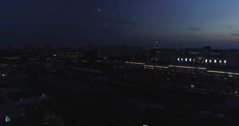 Aerial view Moscow Arma. Camera slide from long shot to object.