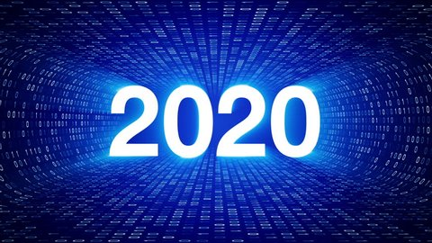 White 2020 date inside white binary tunnel on blue background. Seamless loop. More symbols, icons and color options available in my portfolio.