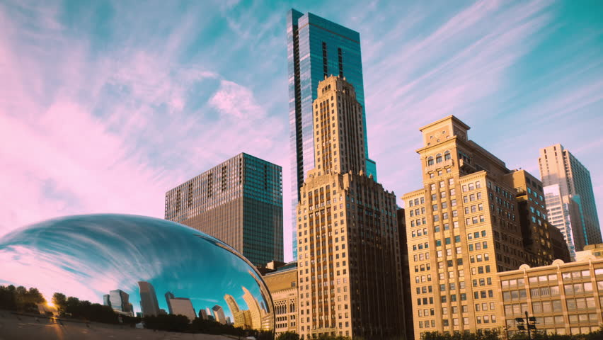 Chicago skyline at Millennium Park with bean cloud gate sculpture, time lapse