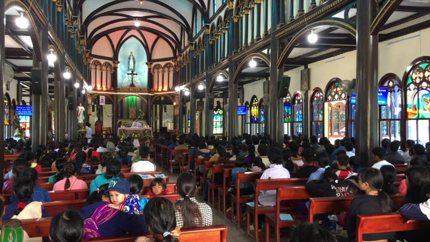 KON TUM, VIETNAM - SEPTEMBER 22, 2018: Many people at the service at Cathedral of Kon Tum. All congregation includes ethnic groups only such as Bahnar, Brau, Gie Trieng, Jarai, Ro Mam, and Xo Dang.