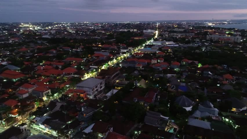 Seminyak, Bali / Indonesia - August 17, 2018 : Aerial of the Seminyak area in Bali, Indonesia