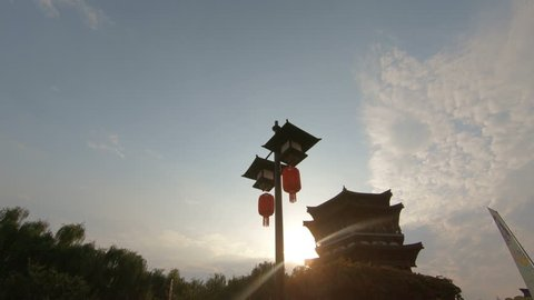 Sunset and Wangchun Building in Tang Paradise(Xi'an China)