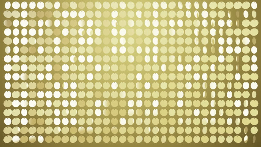 Background with shiny gold circles. Glittering sequins wall. VJ Seamless loop.