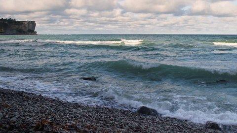Eroded limestone coastline on the island of Gotland in Sweden