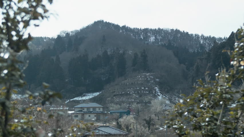 Distant view of city of Fukushima in valley(50p)