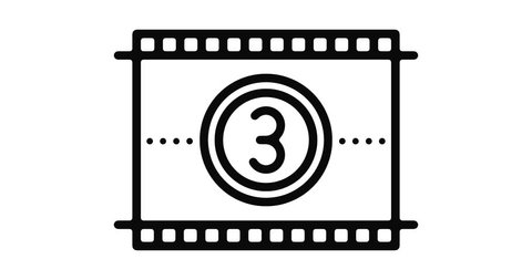 Film reel line icon motion graphic animation with alpha channel.