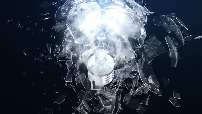 Explosion of an incandescent lamp or ligh bulb. Small pieces of glass fly apart in different directions. The effect of slowing down the time after the explosion. Problem solving concept. | Shutterstock HD Video #1017519550