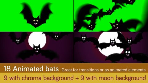 Several compositions of cartoon bats flying, with chroma background and night background
