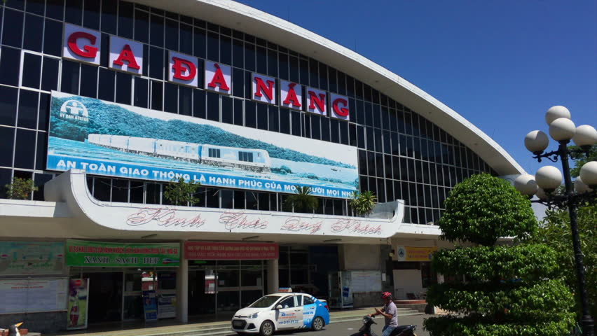 DA NANG, VIETNAM - OCT 2017: Da Nang Railway Station is one of the main railway stations on the North South Railway (Reunification Express) in Vietnam and one of the five largest stations in Vietnam