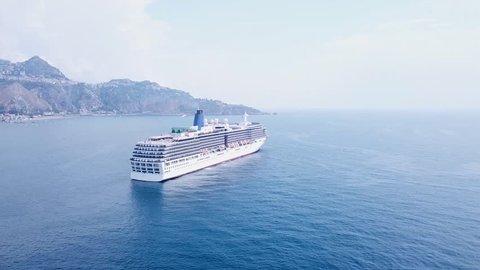 Taormina, Taormina / Italy - 06 17 2018: Cruise Ship - Taormina, Sicily (Italy)