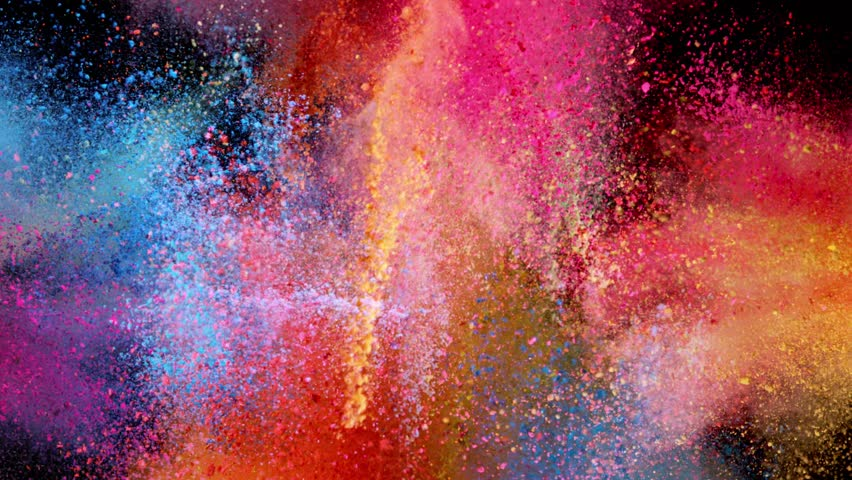 Super slow motion of coloured powder explosion isolated on black background. Filmed on high speed cinema camera, 1000fps. #1017613330