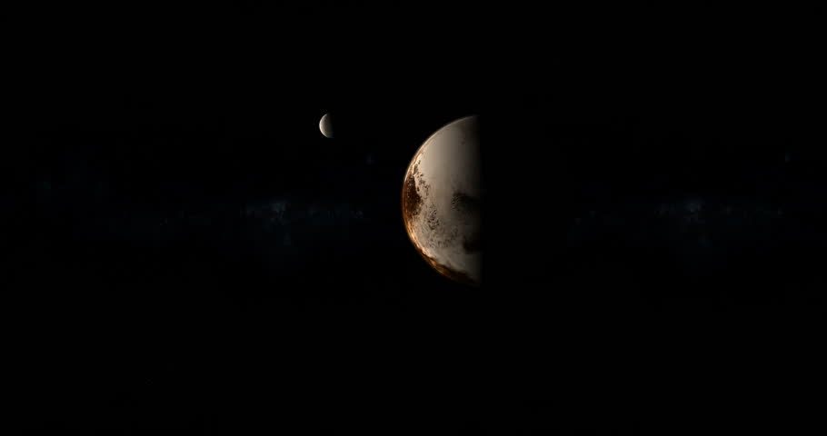 Pluto planet and Charon moon in the outer space