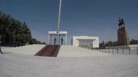 Bishkek, Kyrgyzstan - September 19, 2018 :  Changing of the Honor Guard at the national flag outside the State History Museum in Bishkek, Kyrgyzstan.