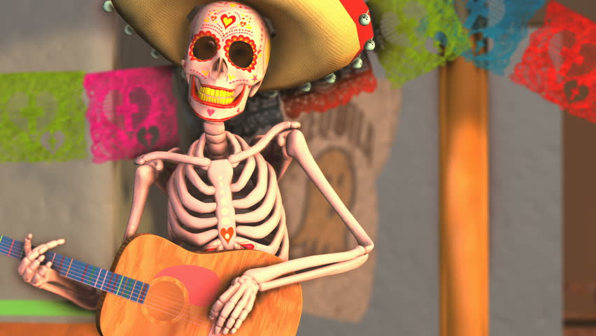 Seamless animation sugar skeleton playing guitar in a tipical mexican village at sunset. Funny Halloween 4K background with decoration for Dia de los muertos | Shutterstock HD Video #1017710320