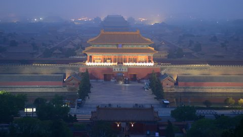 BEIJING, CHINA - APRIL 10, 2012 Time Lapse Aerial View of Beijing with People Visit Forbidden City Dusk to Night
