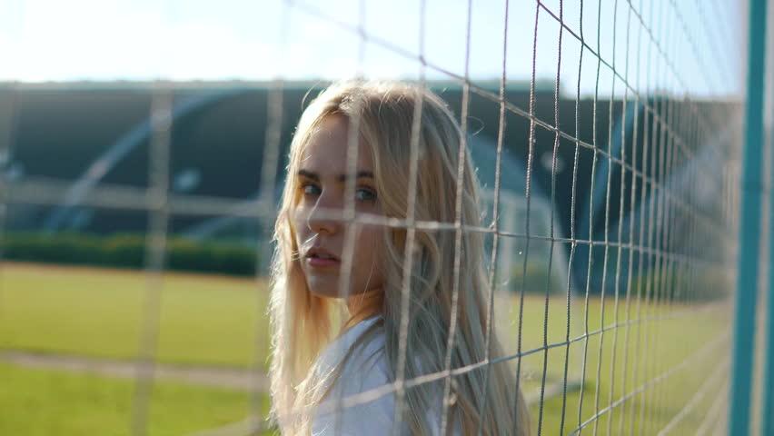 Baby Blonde Girl Near Soccer Net | Shutterstock HD Video #1017912220