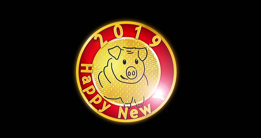 Happy New Year 2019 , Pig 2019, New Year, symbol of the Year, Emblem of New Year 2019, Season Animation,  chinese zodiac pig, Vector bright, Dynamic Cartoon , animated cartoon.Video 4K,Size 4k