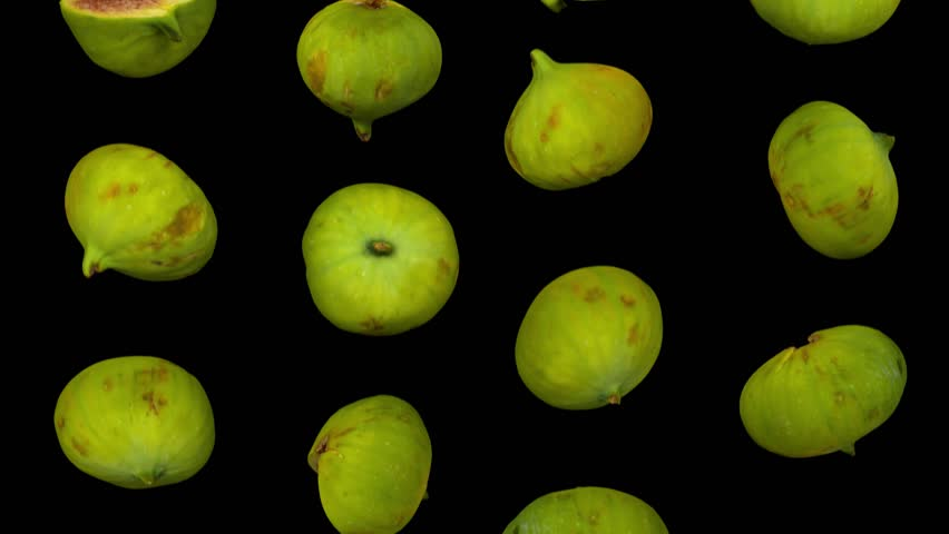 Realistic render of falling green calimyrna figs on black background. The video is seamlessly looping, and the 3D objects are scanned from real figs.  | Shutterstock HD Video #1017949960