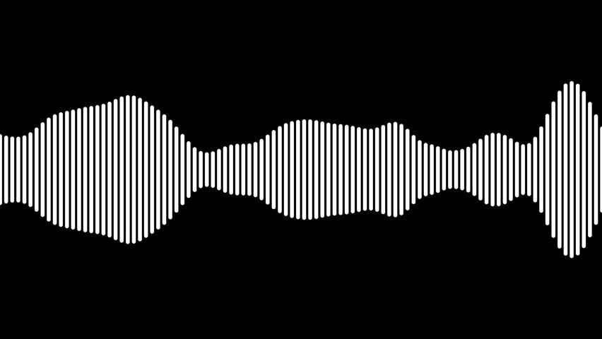 A high resolution animation loop of a black and white audio waveform