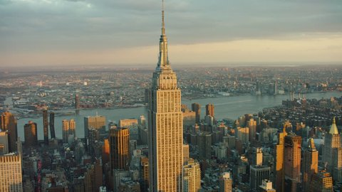New York City, United States of America CIRCA-2018, Aerial view of the Empire State building at sunset. Wide shot. 4k shot with a RED camera.