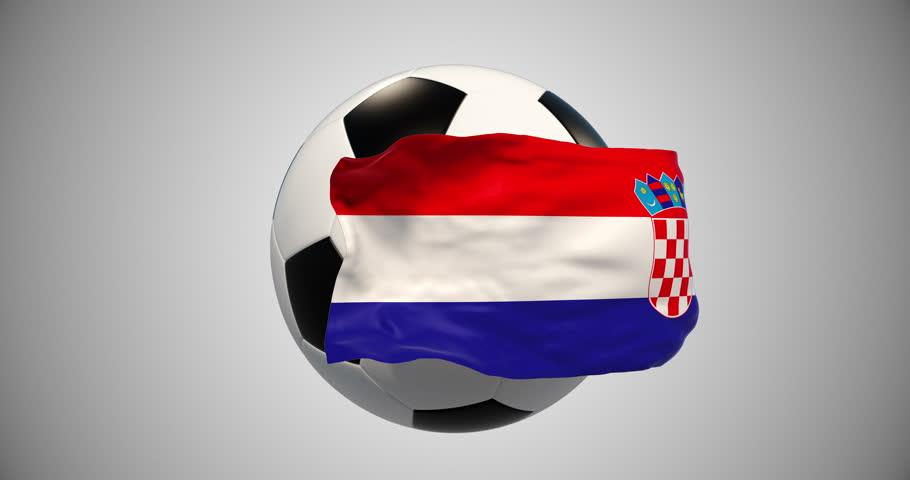Soccer ball,flag alpha matte channel.Sport news.Croatia Football Championships. 4k animation. Object of advertising.Screen saver | Shutterstock HD Video #1018038250