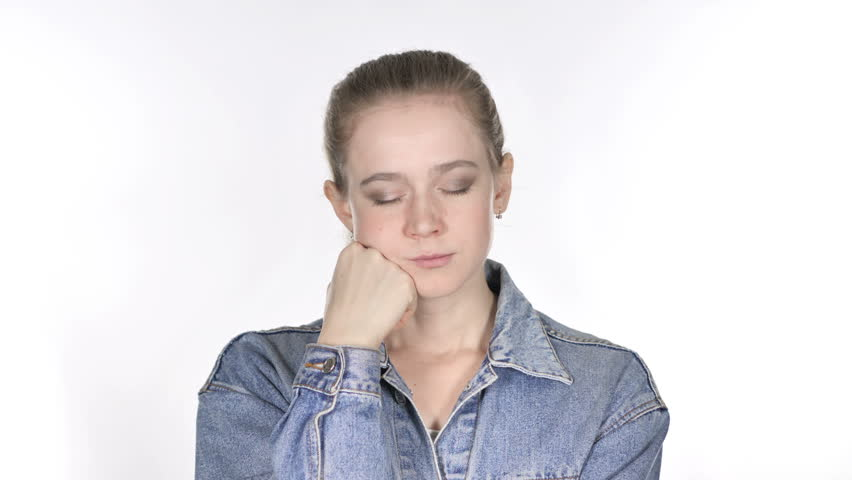 Sleeping Casual Young Woman on White Background | Shutterstock HD Video #1018061200
