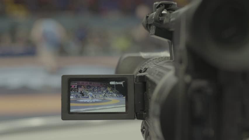 KYIV, UKRAINE – APRIL 24, 2017. TV camera during shooting. Media, news, press, live, broadcast | Shutterstock HD Video #1018085110