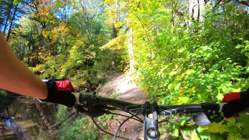 Forest extreme speed cycling near river, first-person perspective view POV. Mountain biking race in woods, near river. MTB bike riding on enduro track trail in the autumn forest. Gimbal stabilized 4K. | Shutterstock HD Video #1018085470
